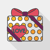 Valentine's Day present flat icon with long shadow,eps10 — Stock Vector