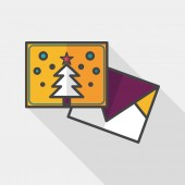 Christmas card flat icon with long shadow,eps10 — Stock Vector