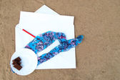 Pencil and Paper note on Beach — Stock Photo