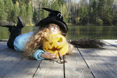Halloween. National holidays and traditions. Fairy tale. Funny kids. — Stock Photo