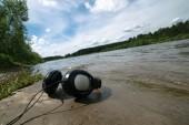 Headphones   on outdoor background — Stock Photo