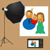 Family makes a picture in the studio — Stock Vector