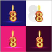 A burning candle in the form of numbers on a significant event — Stock Vector