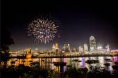 Fireworks Over Skyline — Stock Photo