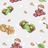 Chestnuts and acorns rowan berries — Stock Vector