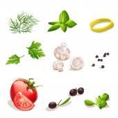 Dill, parsley, tomato, mushrooms, olives, basil, black pepper. — Stok Vektör