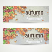 Autumn leaves, chestnuts, acorns and berries of viburnum. — Vector de stock