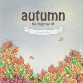 Autumn leaves and berries of viburnum, acorns and chestnuts — Vecteur