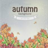 Autumn leaves and berries of viburnum, acorns and chestnuts — Vector de stock