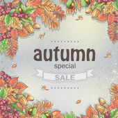 Background of a big autumn sale with the image of autumn leaves, chestnuts, acorns and berries of Viburnum — Vector de stock