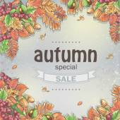 Background of a big autumn sale with the image of autumn leaves, chestnuts, acorns and berries of Viburnum — Vecteur