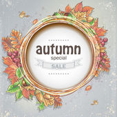 Background for big autumn sale with the image of autumn leaves, acorns, chestnuts and berries of Viburnum — Vector de stock