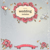 Wedding invitation card for your text on a gray background with poppies, balloons and pigeons — Stockvector