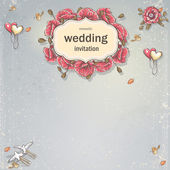 Wedding invitation card for your text on a gray background with poppies, balloons, doves and autumn leaves — Wektor stockowy