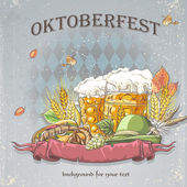 Image of a celebratory background oktoubest the steins of beer, hops, cones and autumn leaves. — Stock Vector