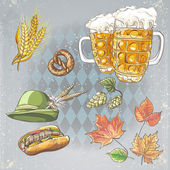 A set of objects to the Oktoberfest — Stock Vector