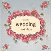 Wedding invitation card for your text on a gray background with poppies — Stockvector