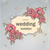 Wedding invitation card for your text on a gray background with poppies, Wedding Rings and Doves — Wektor stockowy