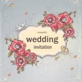 Wedding invitation card for your text on a gray background with poppies, Wedding Rings and Doves — Stockvector