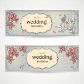 Set of horizontal banners wedding invitations with poppies, glasses, doves and the bride's shoe — Stockvector
