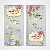 Set of vertical banners wedding invitations with red poppies, cake and a bouquet of roses — Stock Vector