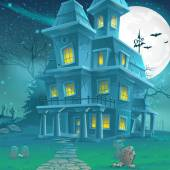 Illustration of a mysterious haunted house on a moonlit night — Stock Vector
