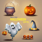 Set of different items for the holiday Halloween, as well as a cute ghost — Stock Vector