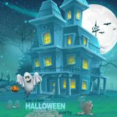 Illustration of a haunted house for Halloween for a party with ghosts — Stock Vector