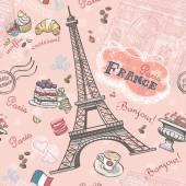 无缝模式对巴黎的浪漫的元素 — 图库矢量图片