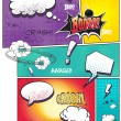 Image comic book pages with different speech bubbles for text, as well as various sounds on a colored background — Stock Vector #54081607