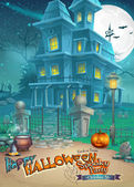 Holiday card with a mysterious Halloween haunted house, scary pumpkin, hat and magic potion — Vettoriale Stock
