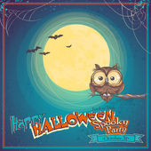 Greeting Card Halloween with owl on background of the moon — Stock Vector