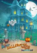 Holiday card with a mysterious Halloween haunted house, scary pumpkins, magic hat and cheerful ghost — Stockvektor