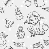 Tekstura zabawek dla dzieci dla dziewcząt w czarny kontur — Stok Vektör