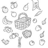Set of fruits and vegetables with a basket in black contour — Stock Vector