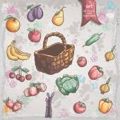 Set of vegetables and fruits with a wicker basket — Stock Vector