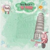 Background of Italy for your text with the image of the Colosseum, the Leaning Tower and pink moped — ストックベクタ