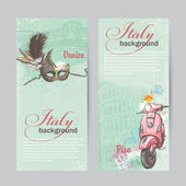 Set of verticall banners of Italy. Cities of Pisa and Venice with a mask and a pink moped — Stok Vektör