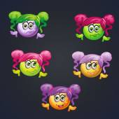 Set of smilies girls with different emotions for computer games. — Stock Vector