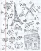 Set of images of various attractions, Paris, FranceSet of images of various attractions, Paris, France. Black contour — Stock Vector