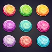 Set of candies of different colors for computer games — Stockvector