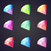 Cartoon image of gems and diamonds of different colors on a black background for computer games. — Wektor stockowy