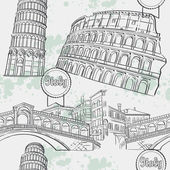 Seamless texture with the image arhitekturi Italy. The Coliseum, the Ri-alto Bridge, the Tower of Pisa. — Stok Vektör