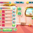 An example of one of the screens of the computer game with a loading background bedroom princess, user interface and various element. Set 1. — Stock Vector #56070235
