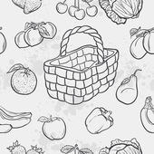 Seamless texture and vegetables, fruit and baskets. — Stock Vector