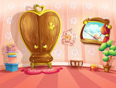 Illustration of princess bedrooms in cartoon style — Vettoriale Stock