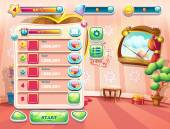 An example of one of the screens of the computer game with a loading background bedroom princess, user interface and various element. Set 1. — Wektor stockowy