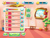 An example of one of the screens of the computer game with a loading background bedroom princess, user interface and various element. Set 1. — Cтоковый вектор