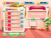 An example of one of the screens of the computer game with a loading background bedroom princess, user interface and various element. Set 2 — Vettoriale Stock