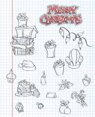 A set of Christmas items. Gifts, toys, garlands. Black contour. Set 1. — Stockvector